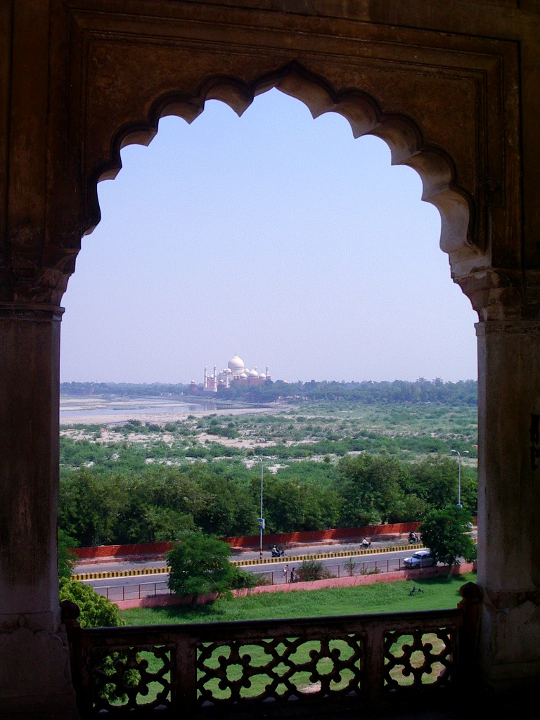 view of Taj Mahal from Agra Fort