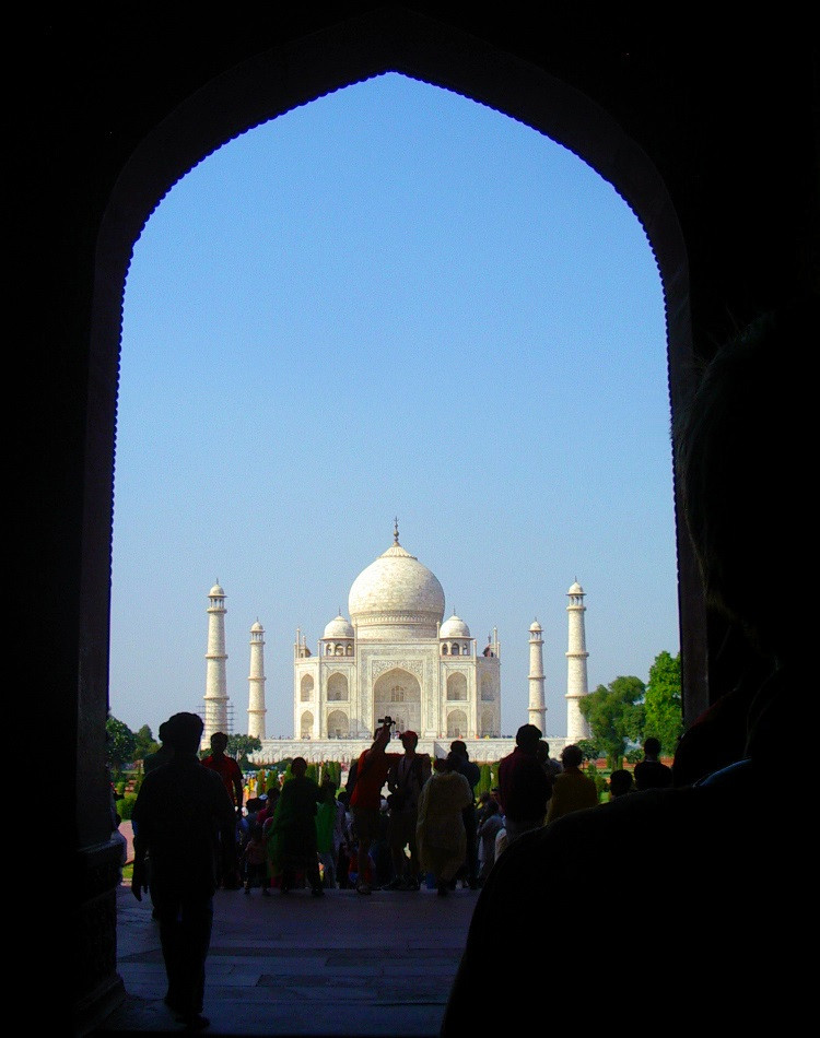 a view of Taj Mahal from the gate