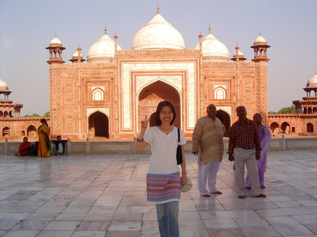 Author in front of the Taj Mosque