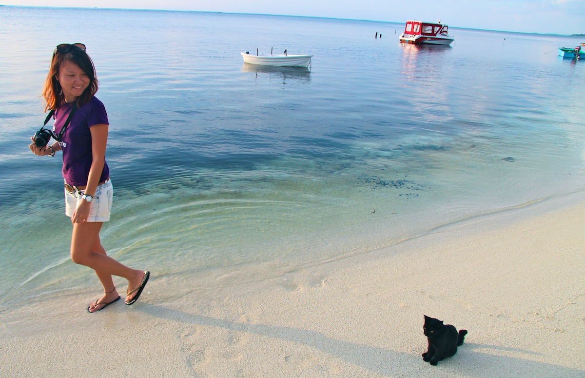Ying and a cat in Maafushi
