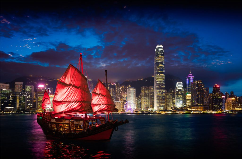 Chinese New Year in Hong Kong overlooking Victoria Harbour