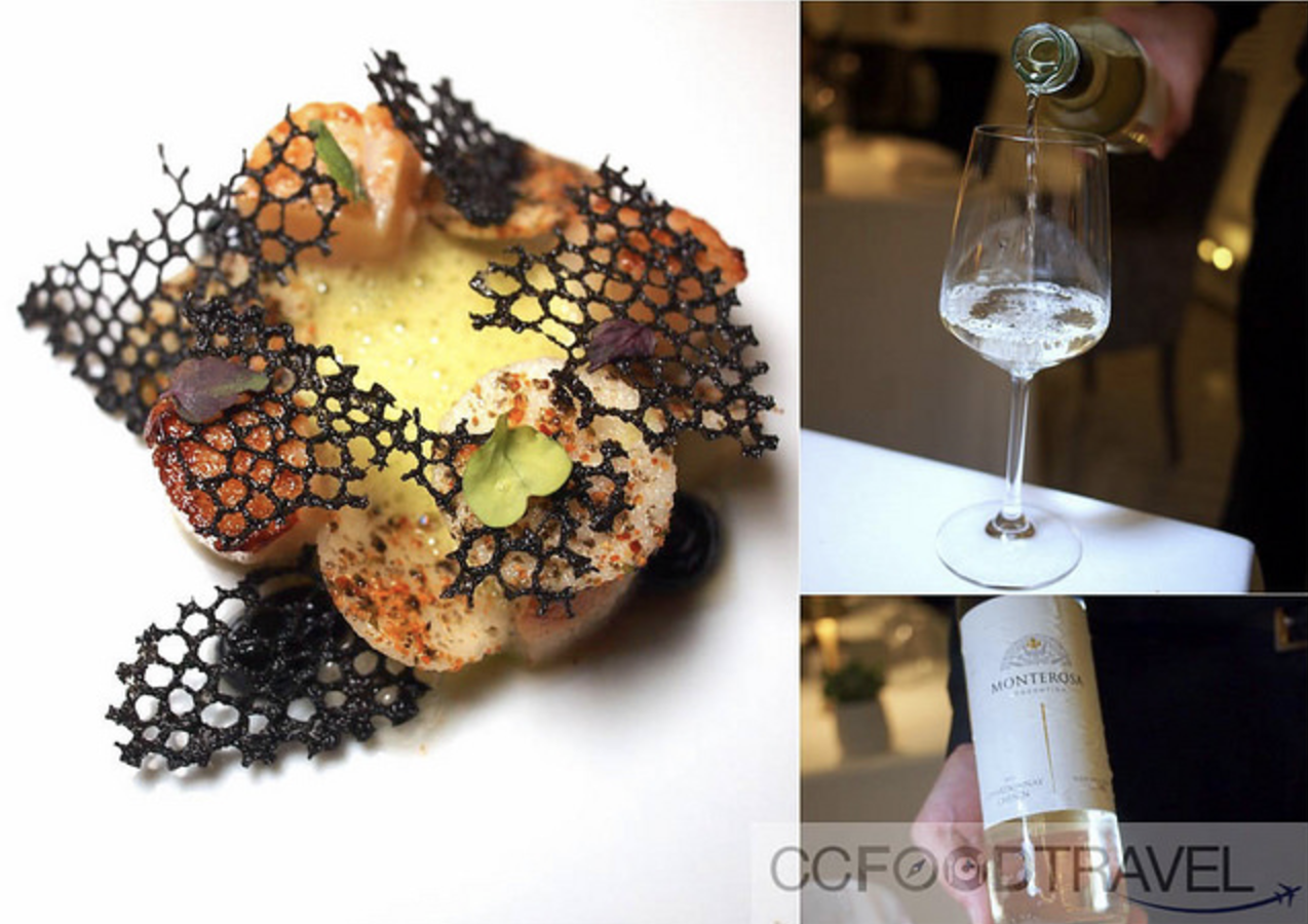 Scallop, apple, seaweed, matcha paired with the Monterosa Chardonnay,Argentina 2016