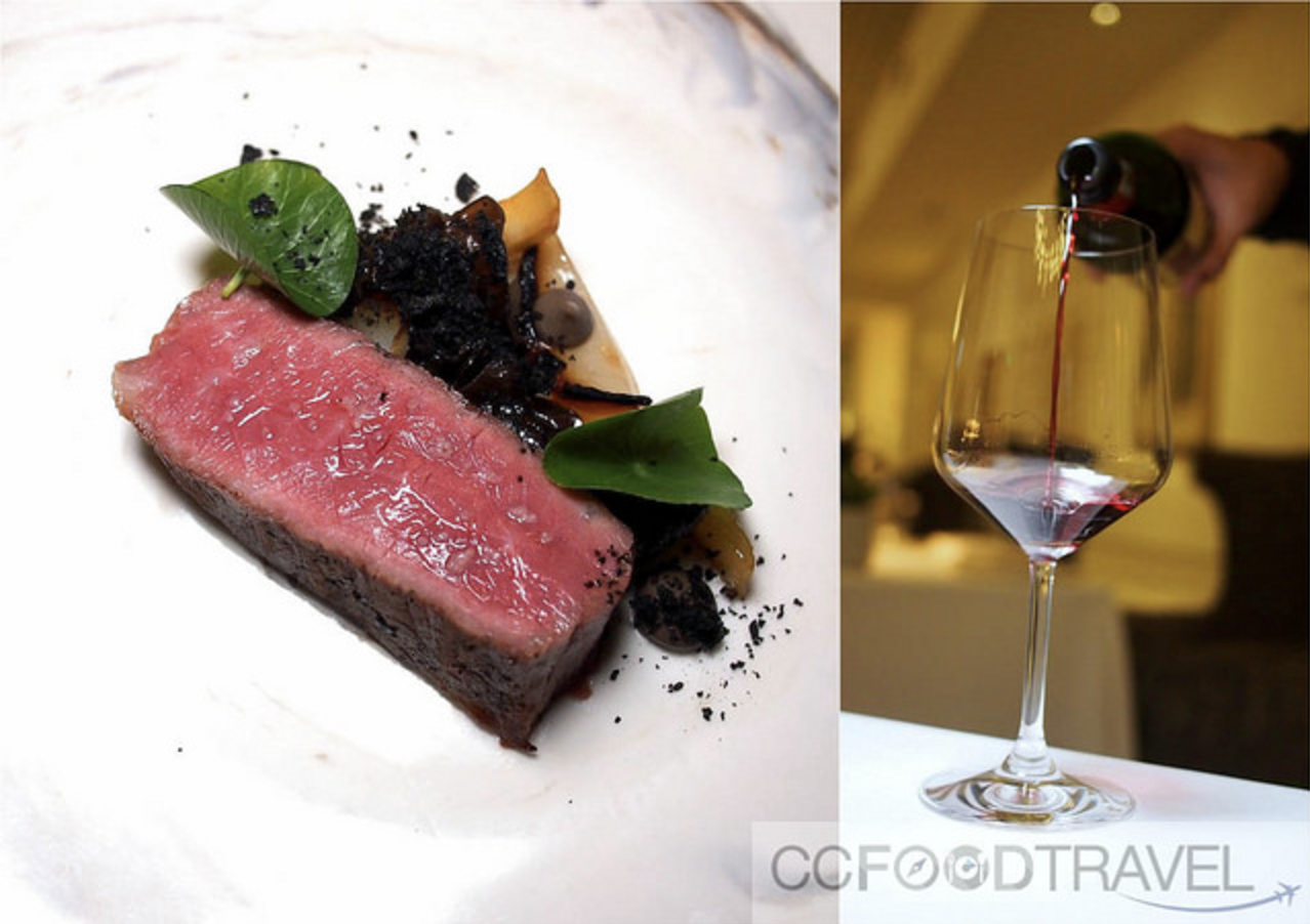 Wagyu Wood ear, Chesnut, charred onion jus paired with the Esser Cabernet Sauvignon 2013
